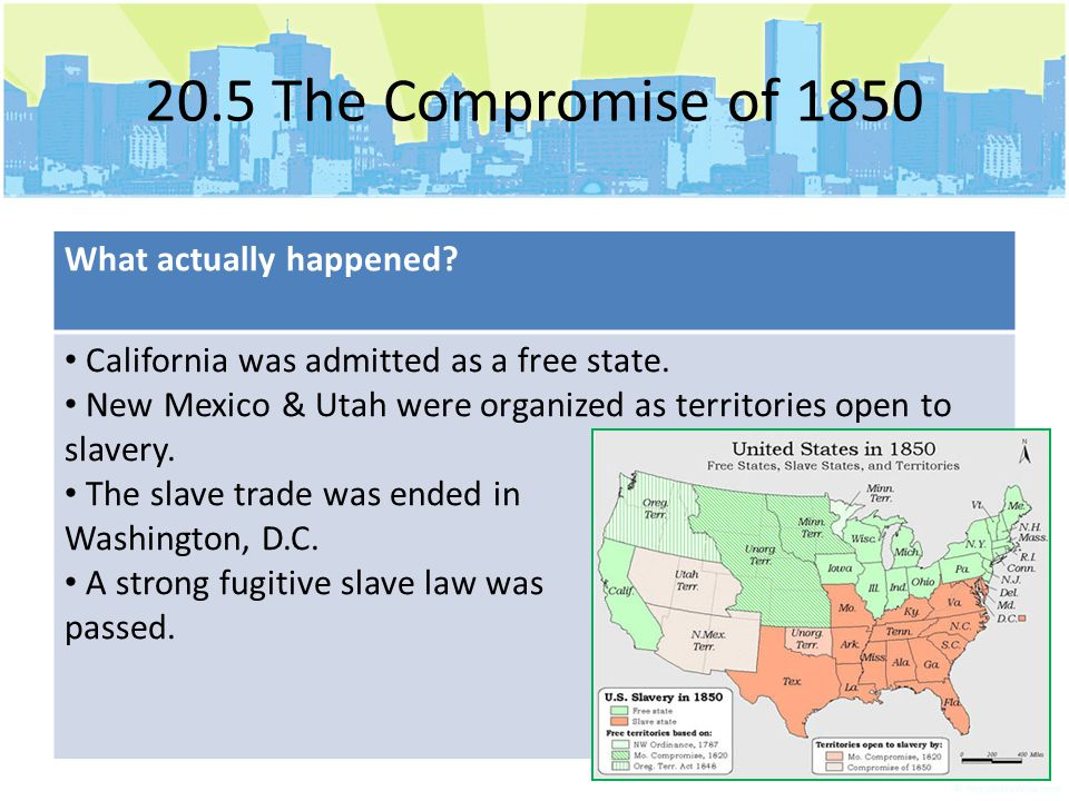 20.5 The Compromise of 1850 What actually happened