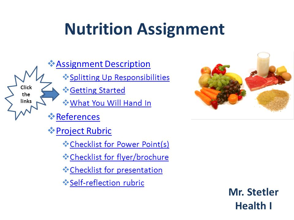 Nutrition Assignment Mr. Stetler Health I Assignment Description