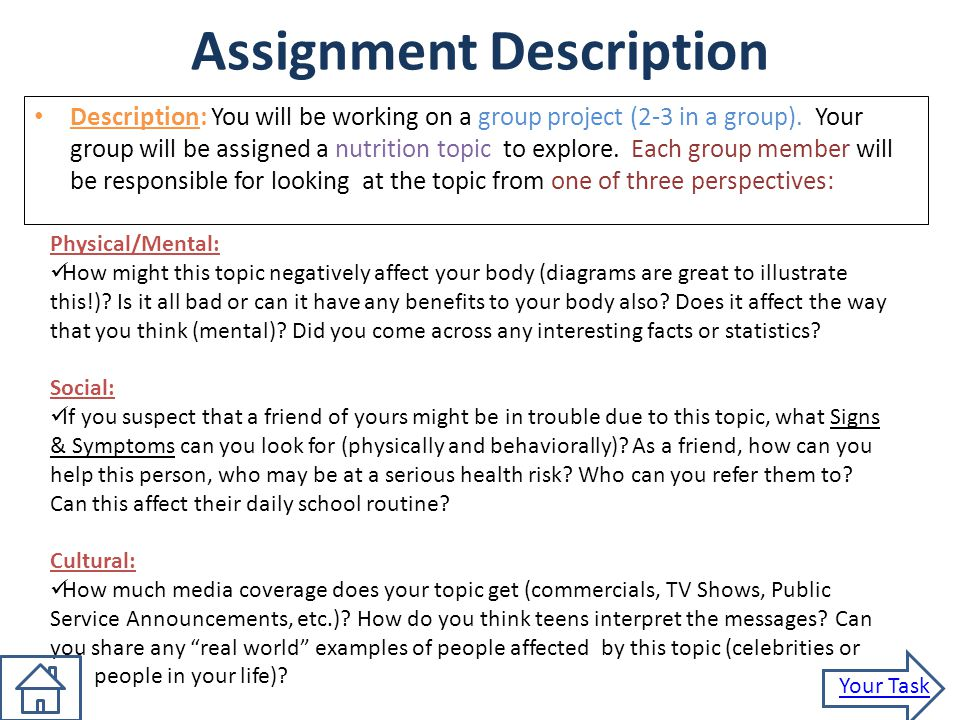 nutrition assignment mr stetler health i assignment description  2 assignment description
