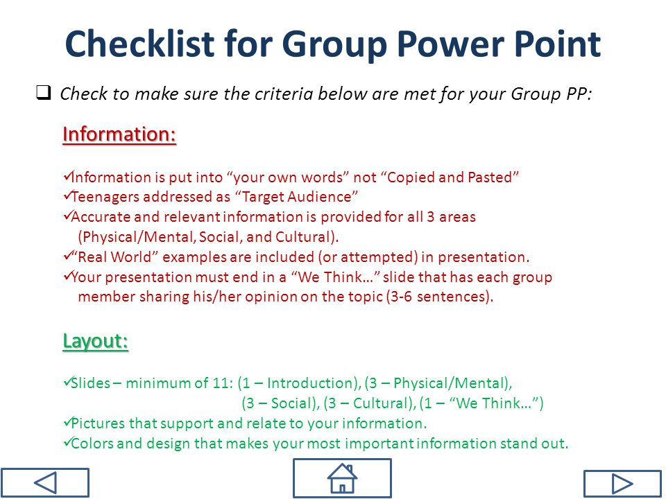 Checklist for Group Power Point