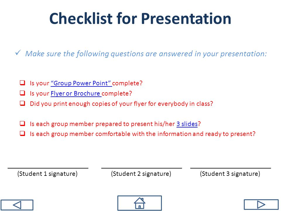 Checklist for Presentation