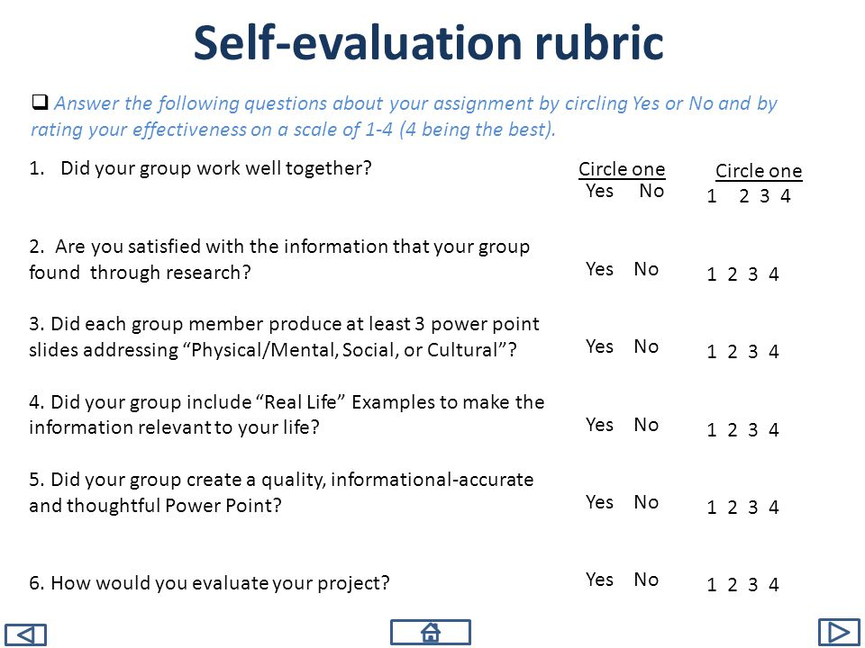 Self-evaluation rubric