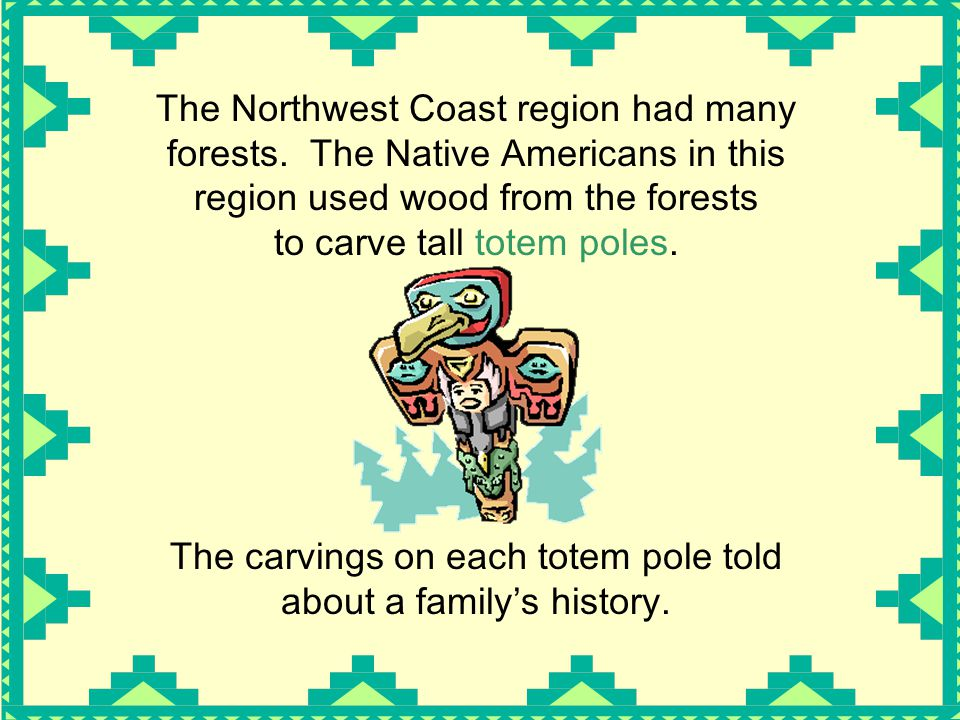The carvings on each totem pole told about a family's history.