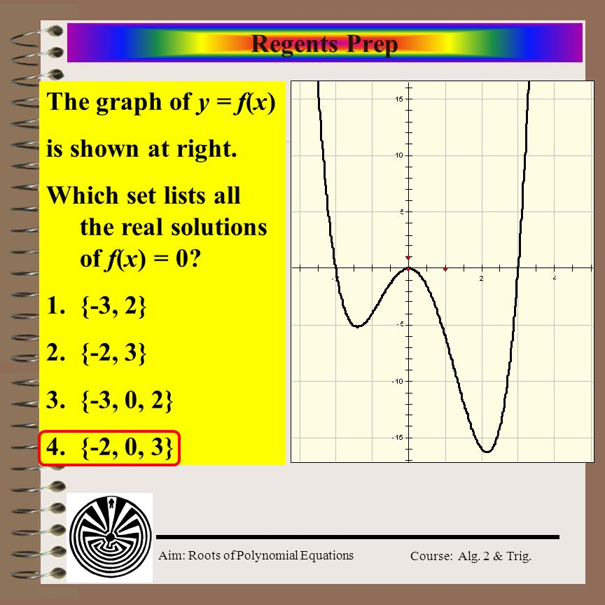 Regents Prep The graph of y = f(x) is shown at right. Which set lists all the real solutions of f(x) = 0