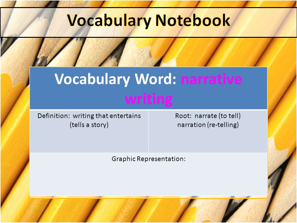 Vocabulary Word: narrative writing