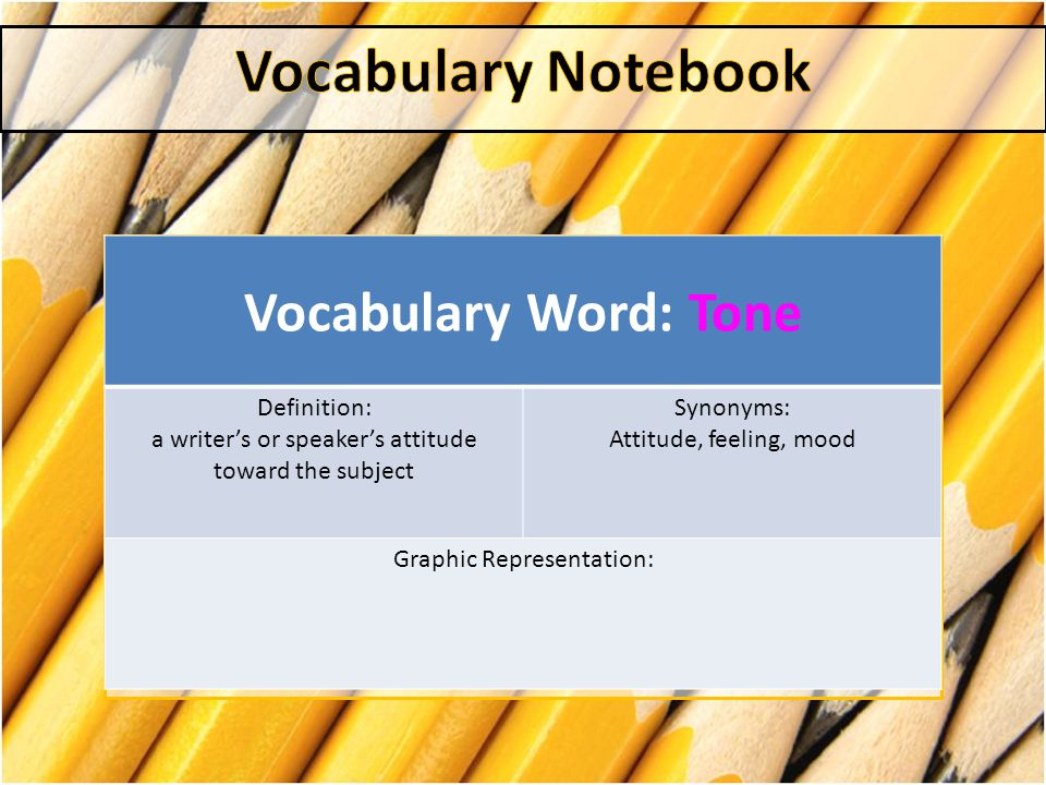 Vocabulary Notebook Vocabulary Word: Tone Definition: