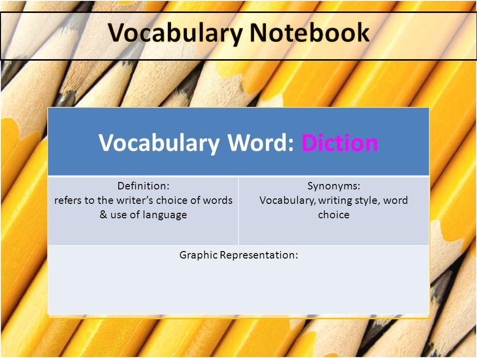Vocabulary Word: Diction