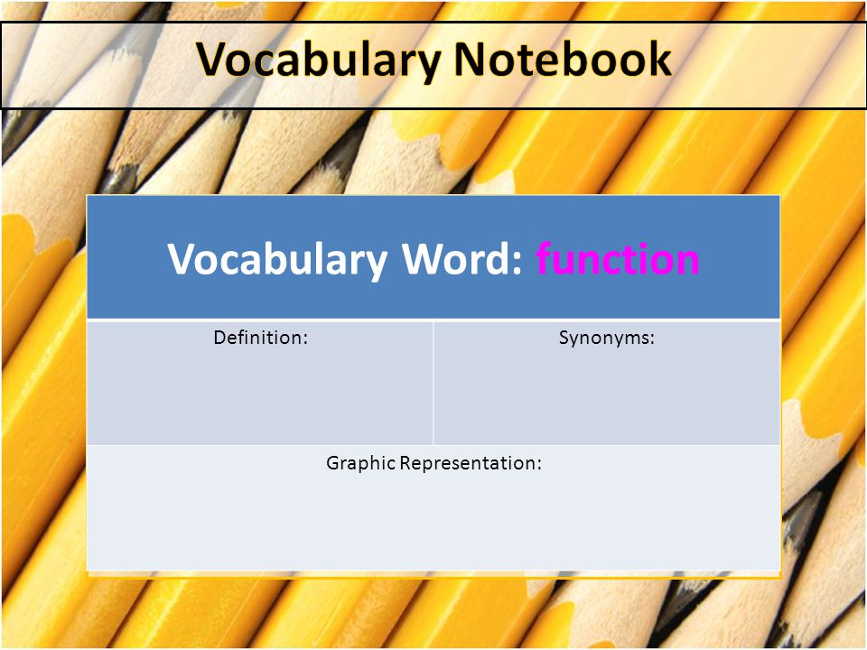 Vocabulary Word: function