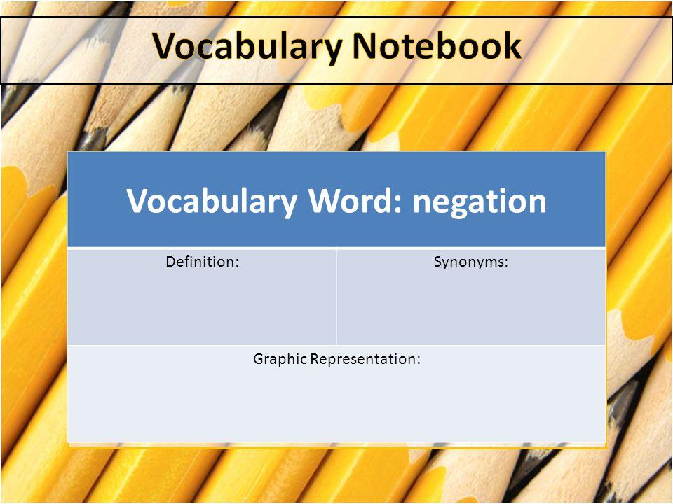 Vocabulary Word: negation