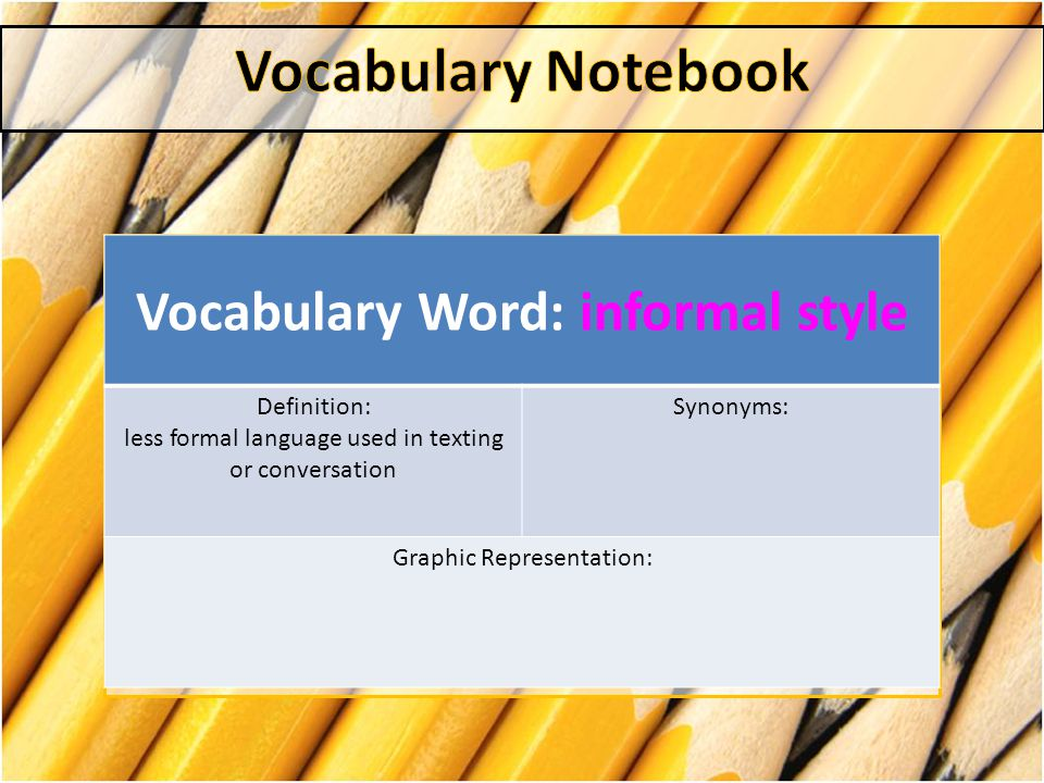 Vocabulary Word: informal style