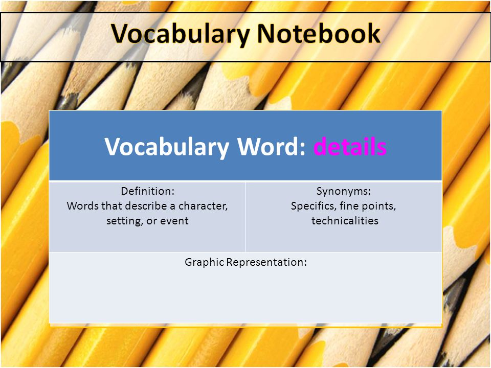Vocabulary Word: details