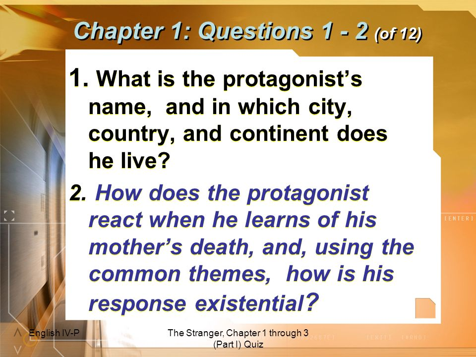 Chapter 1: Questions 1 - 2 (of 12)