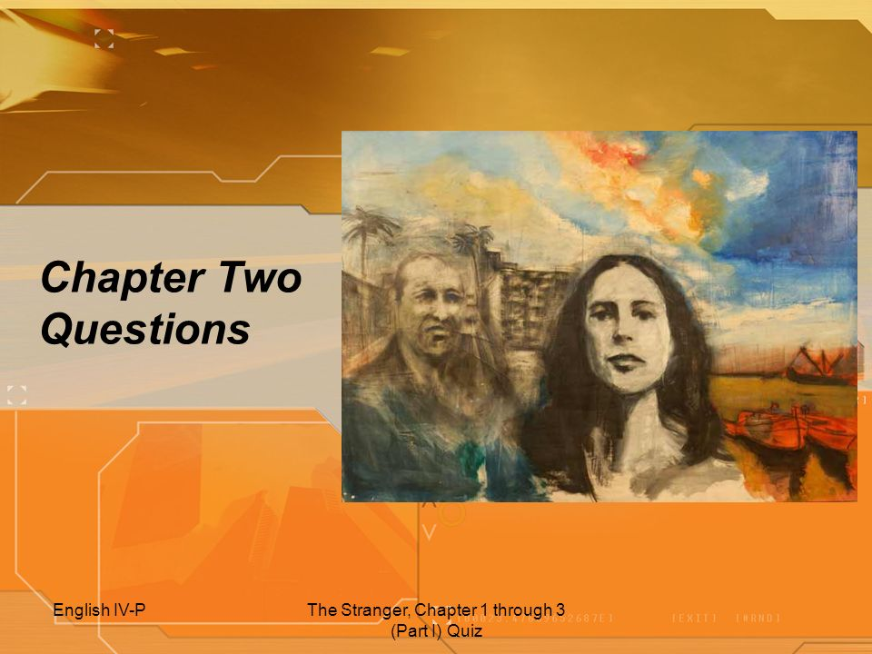 The Stranger, Chapter 1 through 3 (Part I) Quiz