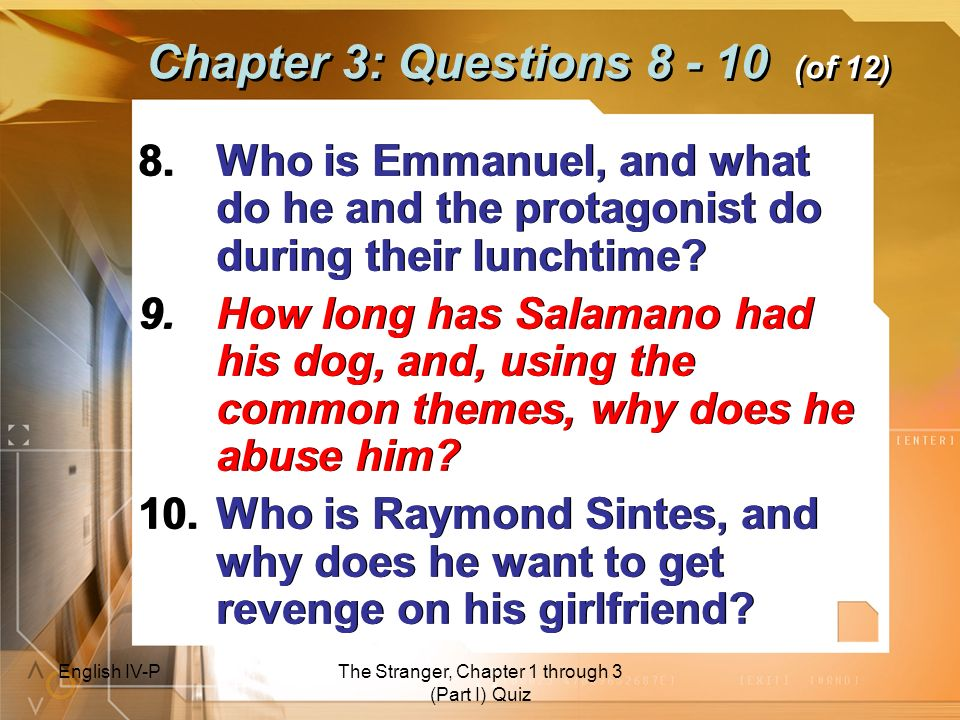 Chapter 3: Questions 8 - 10 (of 12)