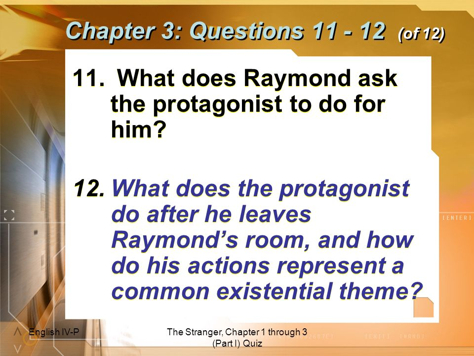 Chapter 3: Questions 11 - 12 (of 12)