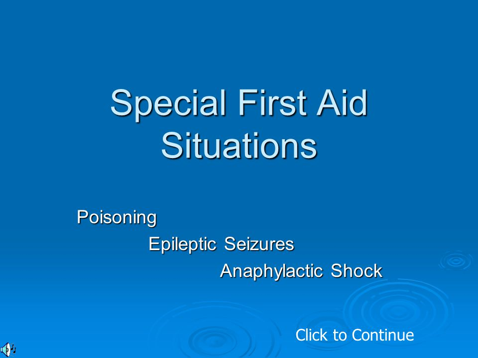 Special First Aid Situations