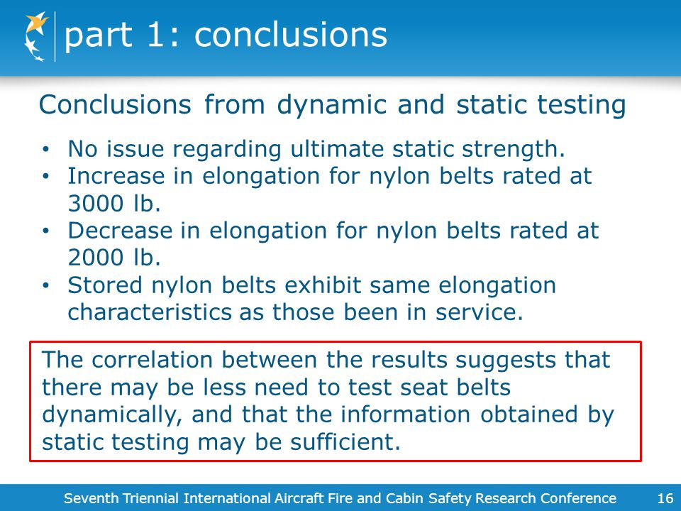 part 1: conclusions Conclusions from dynamic and static testing