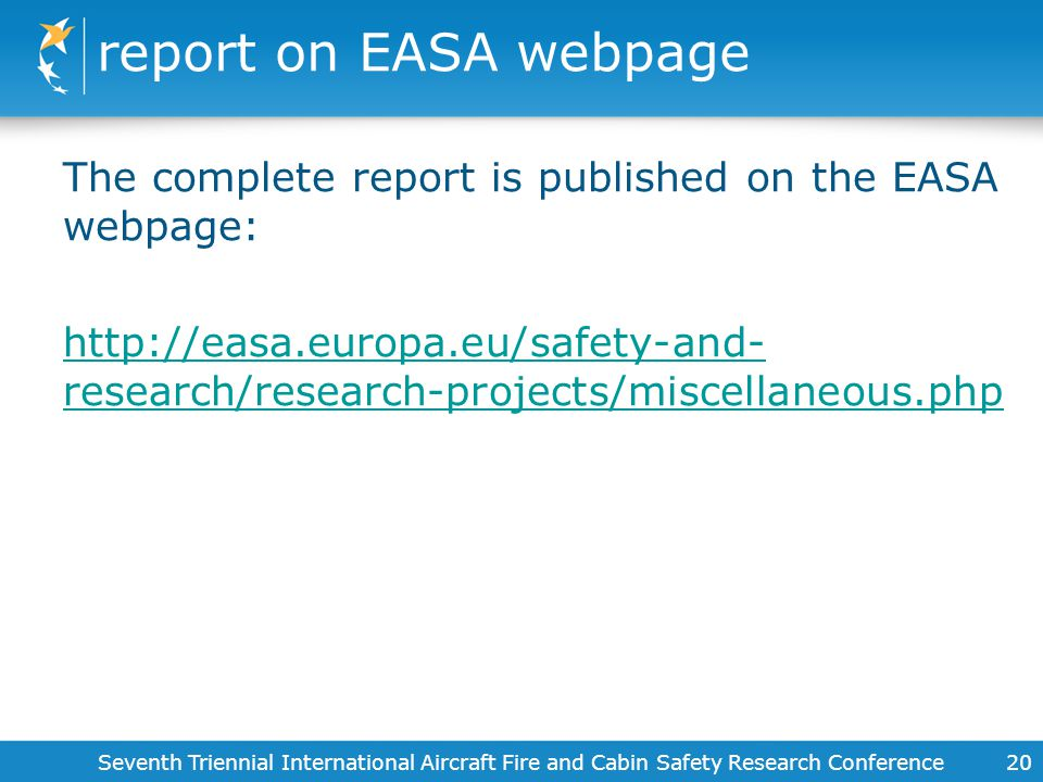 report on EASA webpage