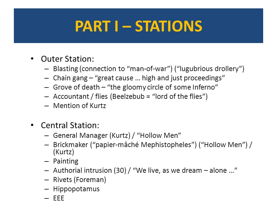 PART I – STATIONS Outer Station: Central Station: