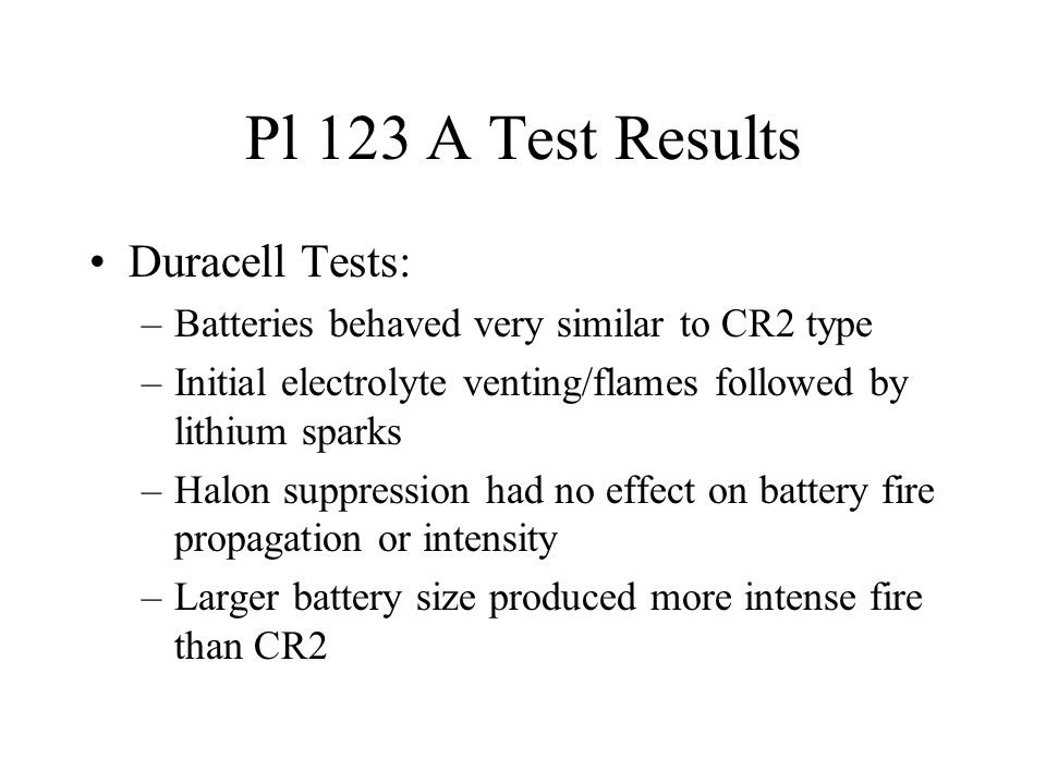 Pl 123 A Test Results Duracell Tests: