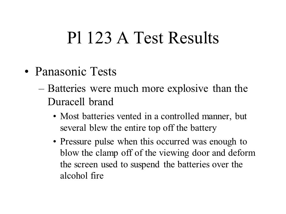 Pl 123 A Test Results Panasonic Tests