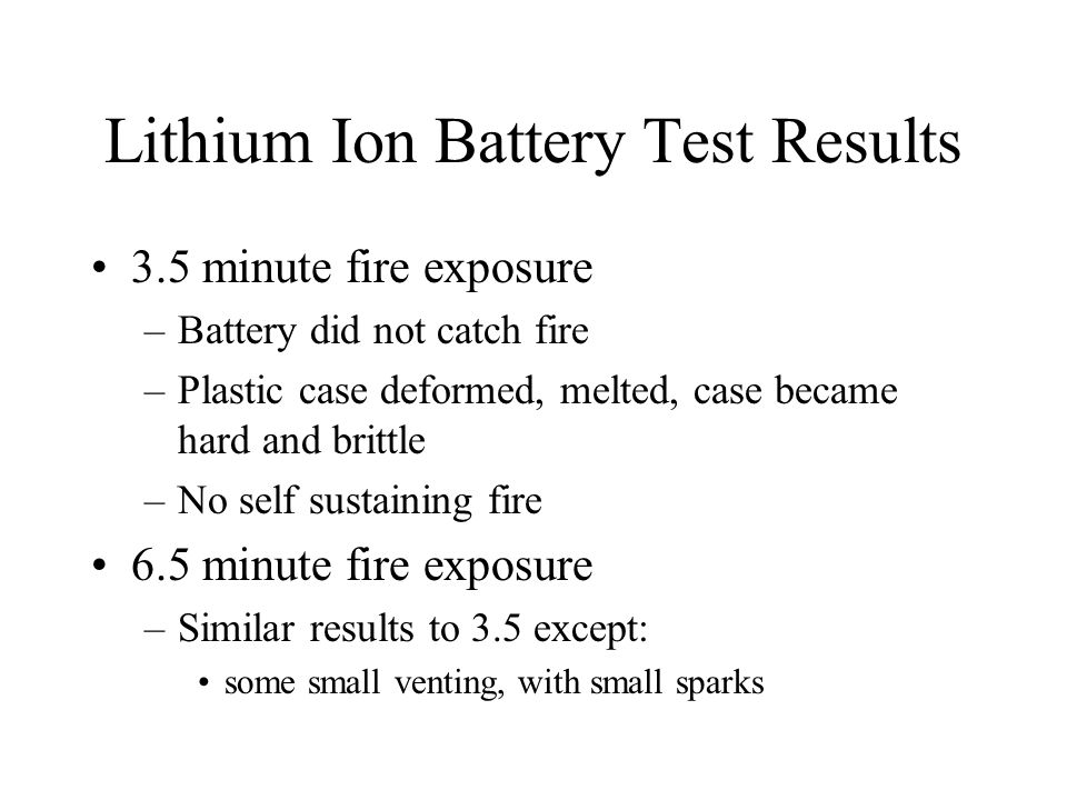 Lithium Ion Battery Test Results