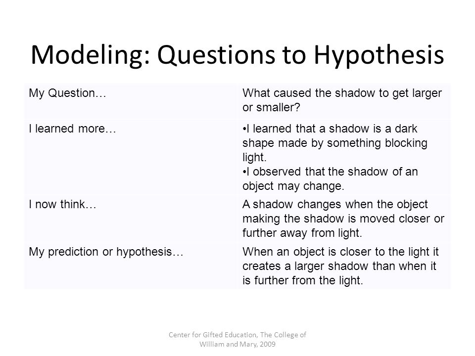Modeling: Questions to Hypothesis