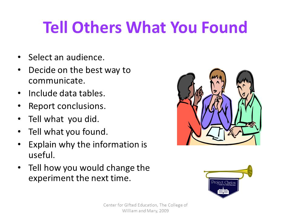Tell Others What You Found