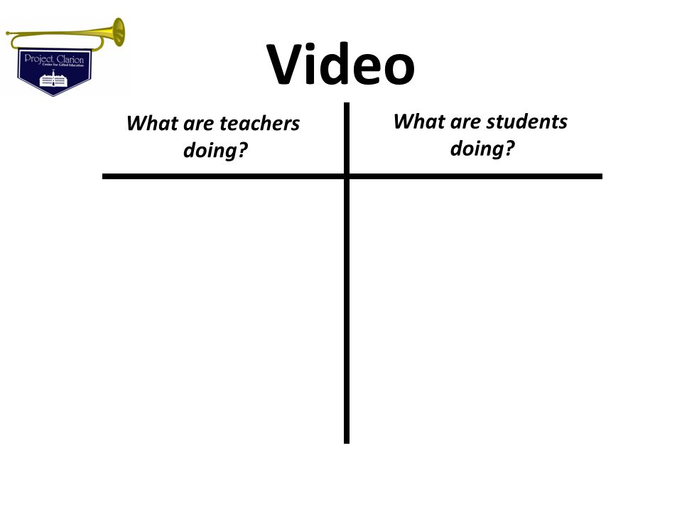 Video What are teachers doing What are students doing