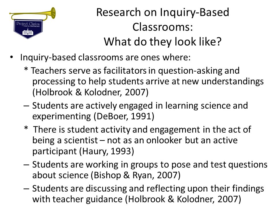 Research on Inquiry-Based Classrooms: What do they look like