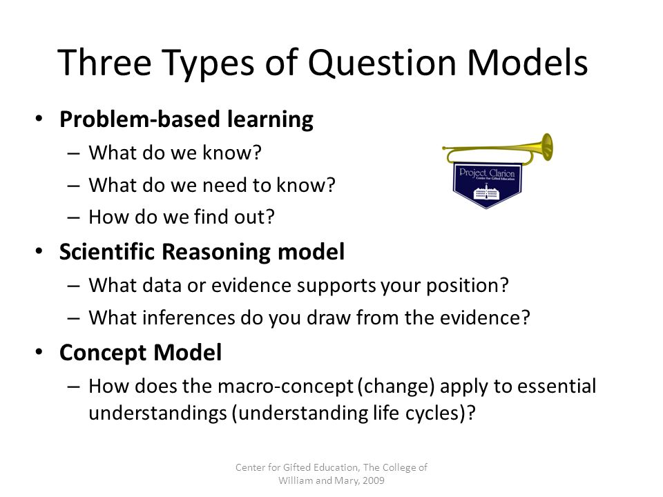 Three Types of Question Models