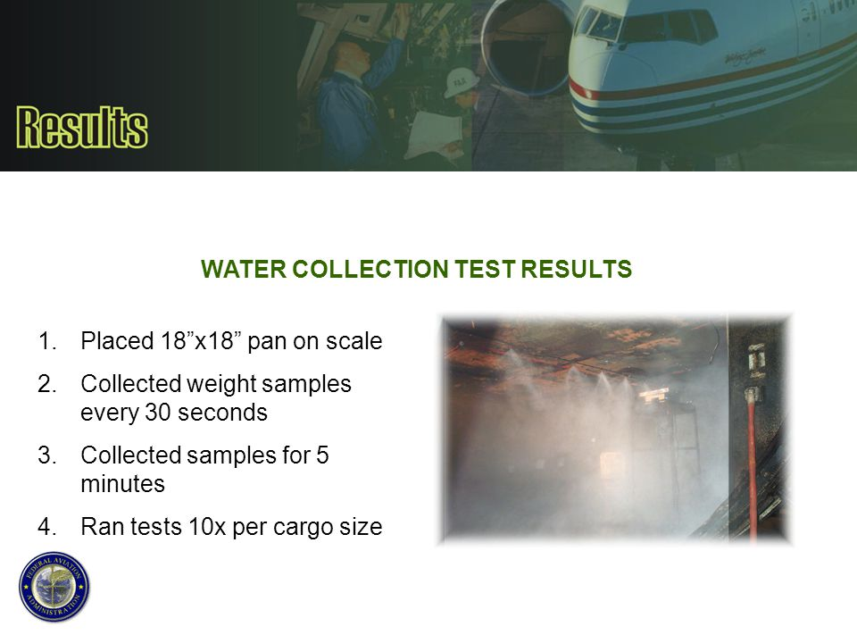WATER COLLECTION TEST RESULTS