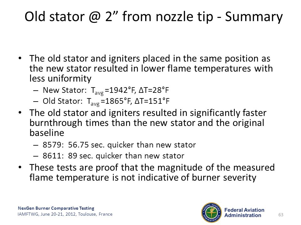 Old stator @ 2 from nozzle tip - Summary