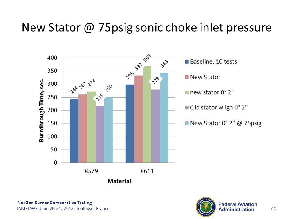 New Stator @ 75psig sonic choke inlet pressure