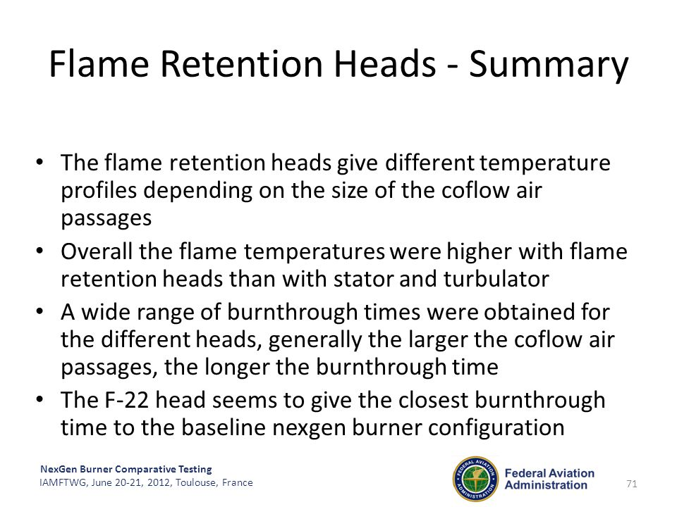 Flame Retention Heads - Summary