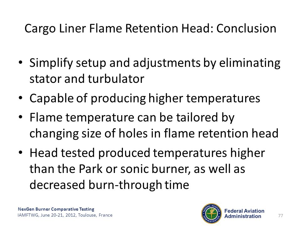 Cargo Liner Flame Retention Head: Conclusion