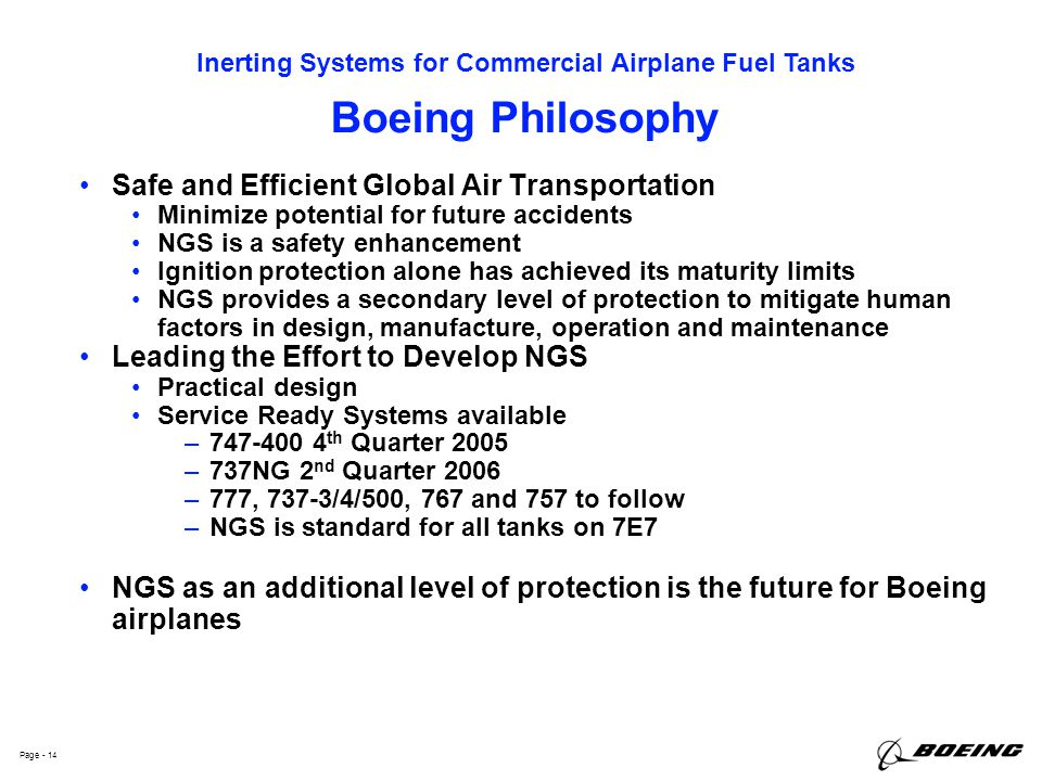 Boeing Philosophy Safe and Efficient Global Air Transportation