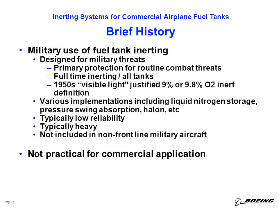 Brief History Military use of fuel tank inerting