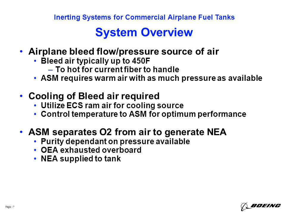 System Overview Airplane bleed flow/pressure source of air