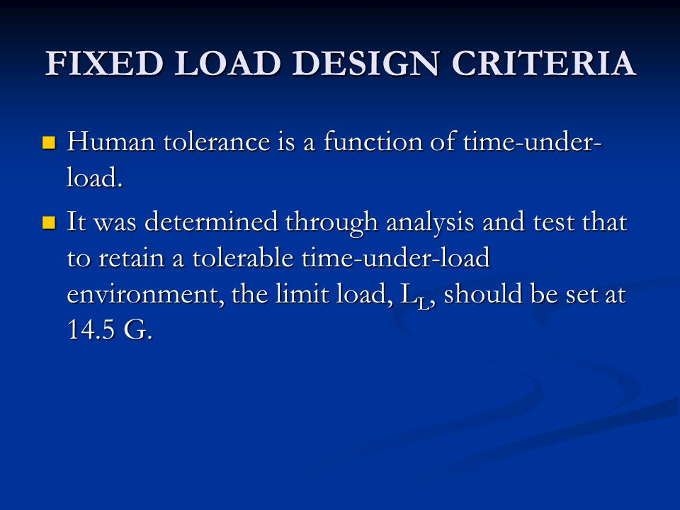 FIXED LOAD DESIGN CRITERIA