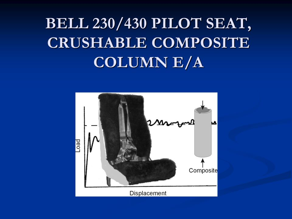 BELL 230/430 PILOT SEAT, CRUSHABLE COMPOSITE COLUMN E/A