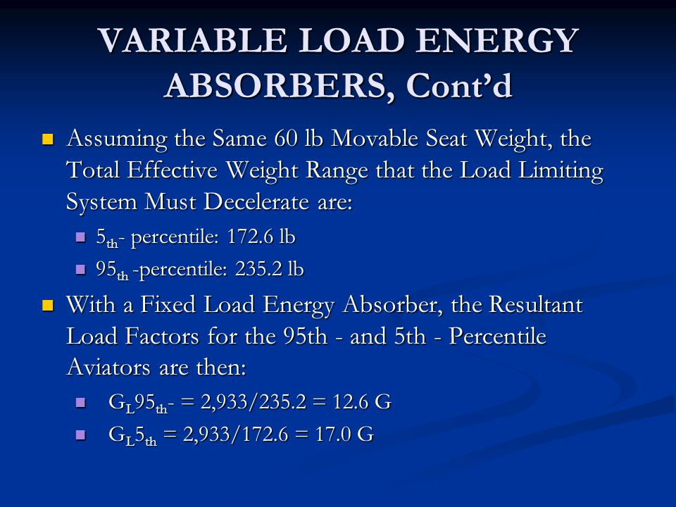 VARIABLE LOAD ENERGY ABSORBERS, Cont'd
