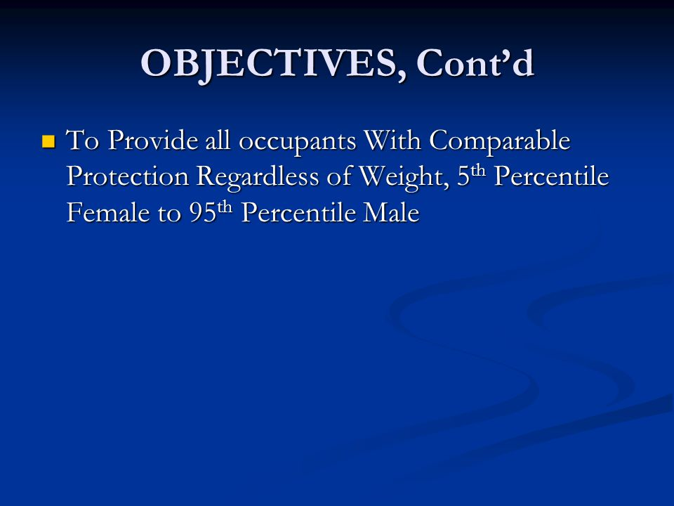 OBJECTIVES, Cont'd To Provide all occupants With Comparable Protection Regardless of Weight, 5th Percentile Female to 95th Percentile Male.