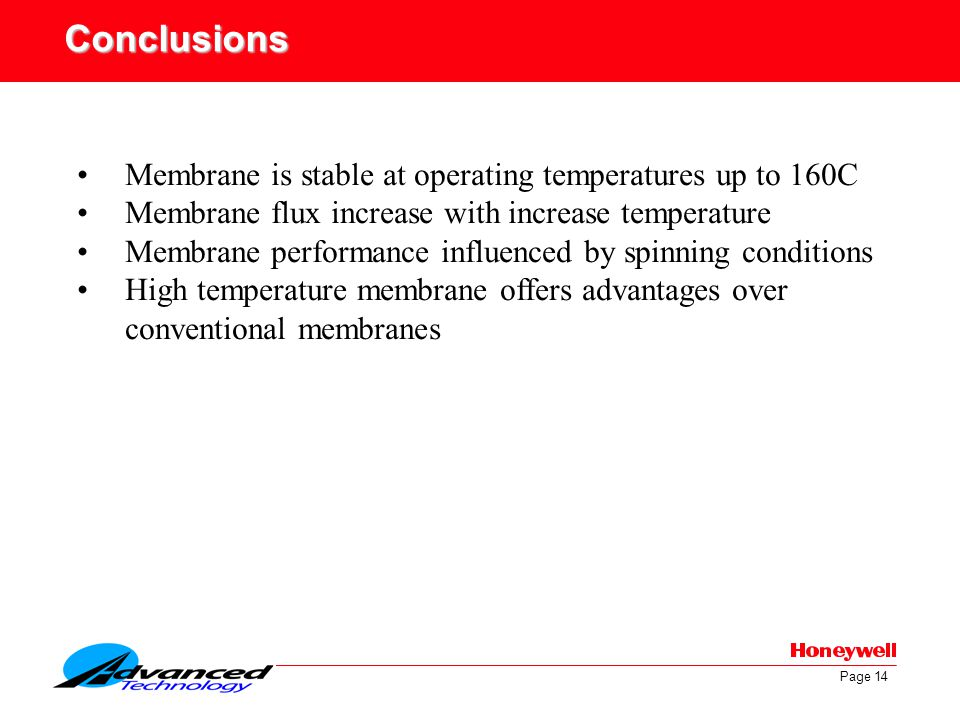 Conclusions Membrane is stable at operating temperatures up to 160C