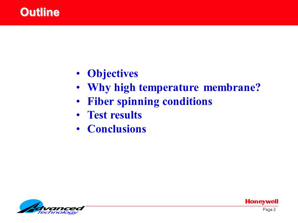 Outline Objectives. Why high temperature membrane.