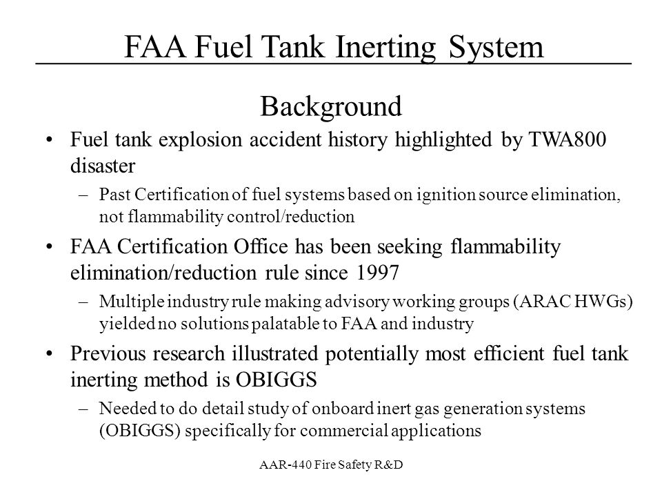 Background Fuel tank explosion accident history highlighted by TWA800 disaster.