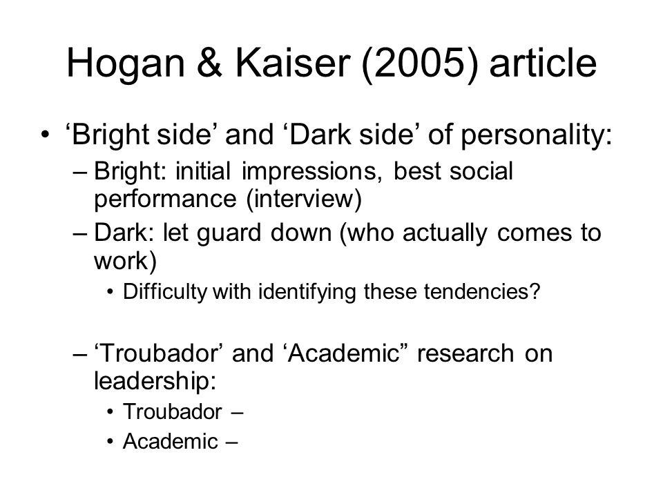 Hogan & Kaiser (2005) article
