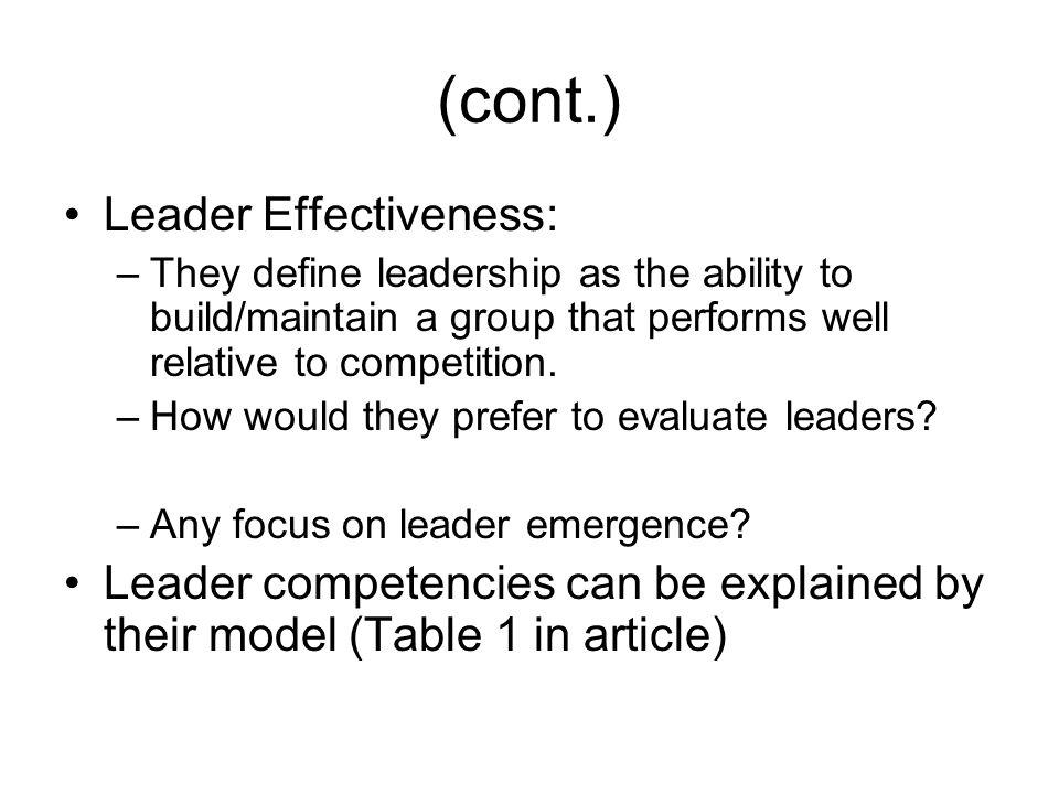 (cont.) Leader Effectiveness: