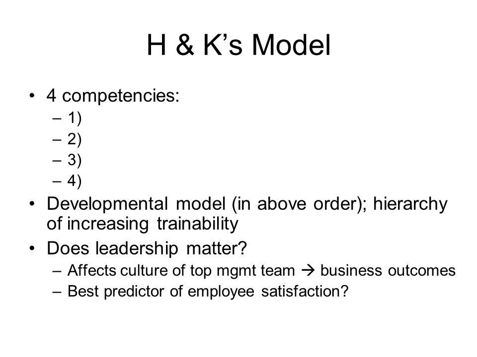 H & K's Model 4 competencies: