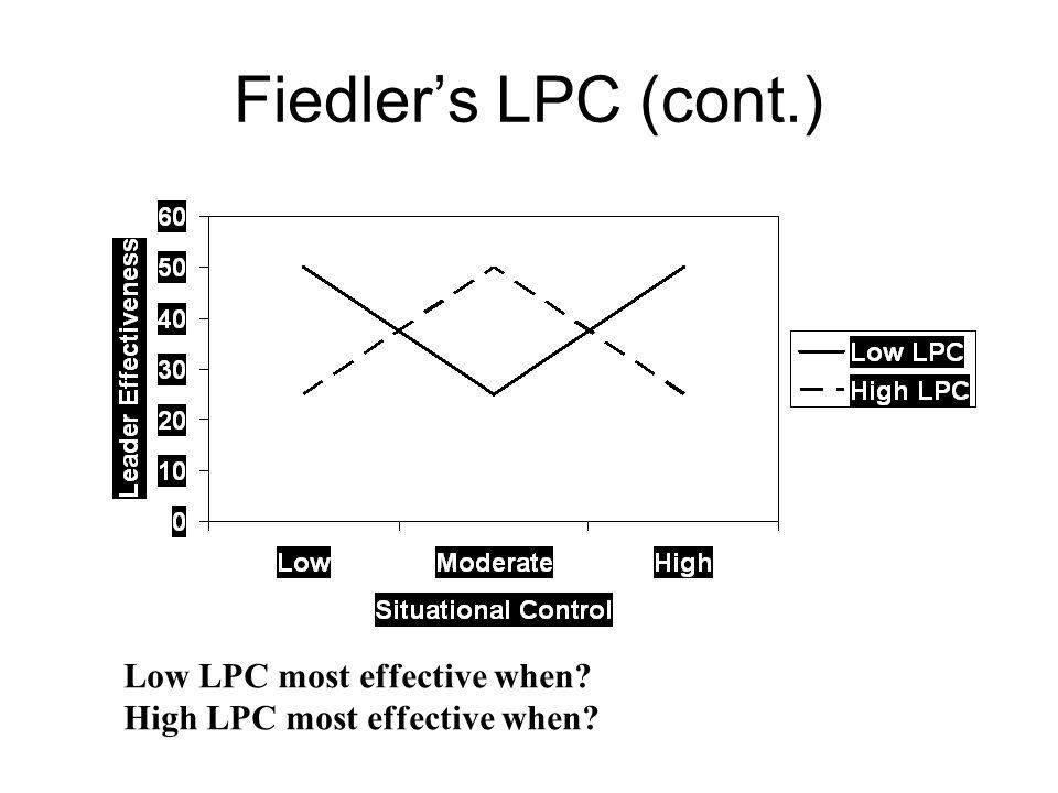 Fiedler's LPC (cont.) Low LPC most effective when